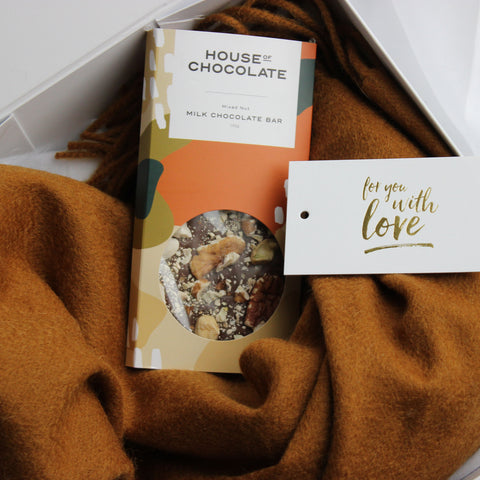 Luxury Gift | Wool Blend Scarf + Choc Block