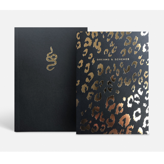 notebook with gold foil printed covers
