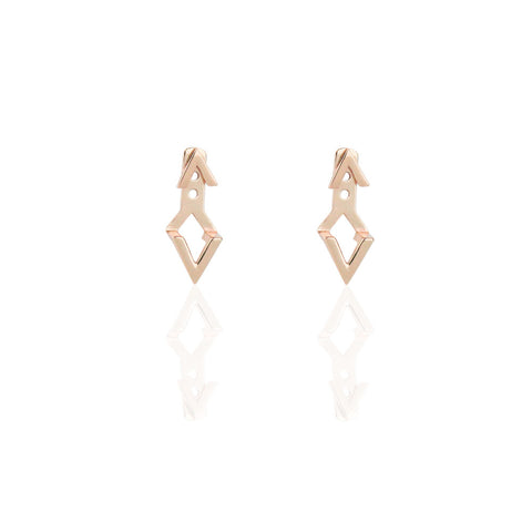 Ear Jackets | Chevron Rose Gold