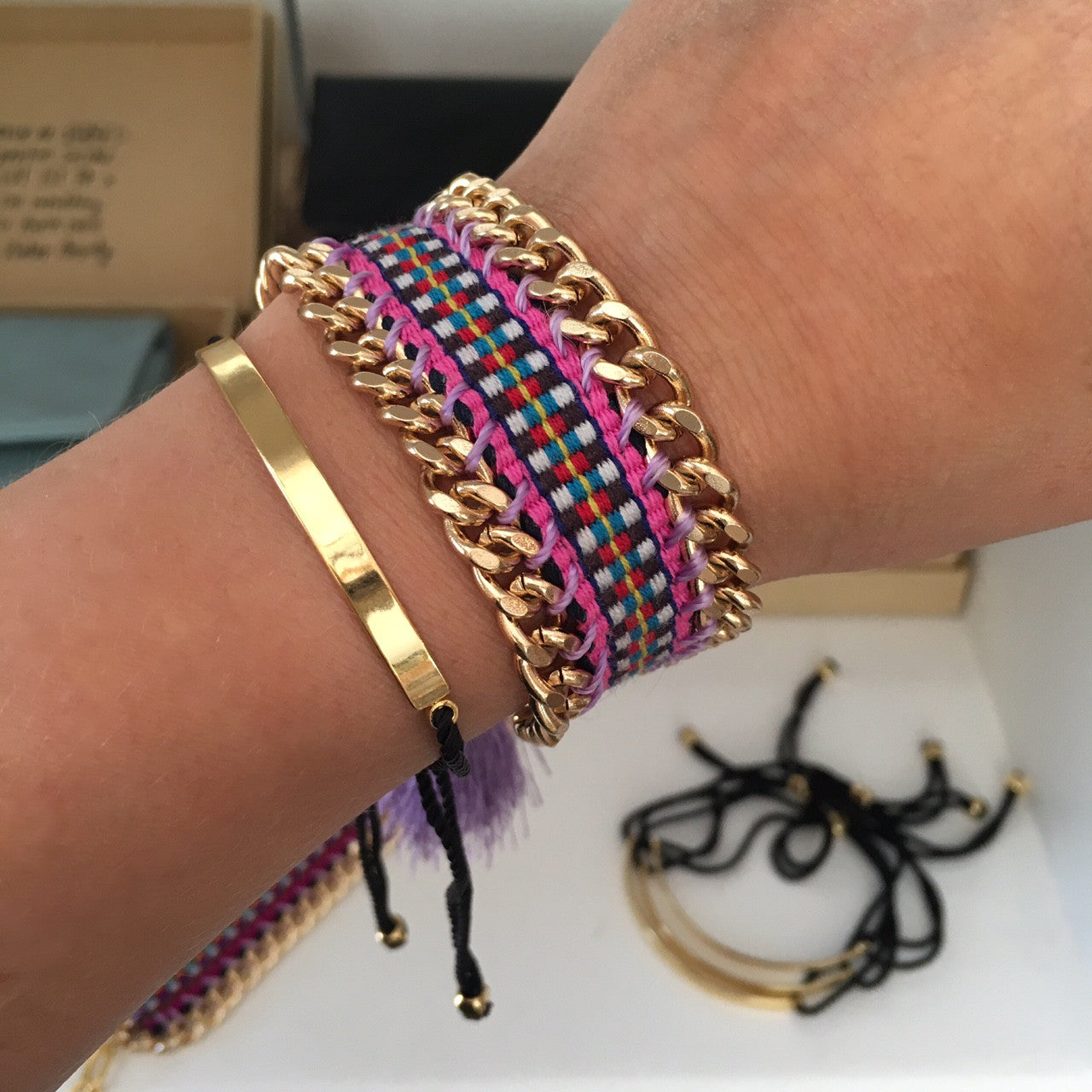 Sonja Bonk Wrap Bracelet Gold Plated & Black