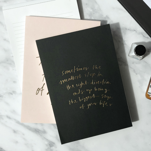 Essential notepad by Blacklist Stationary black gold foiling