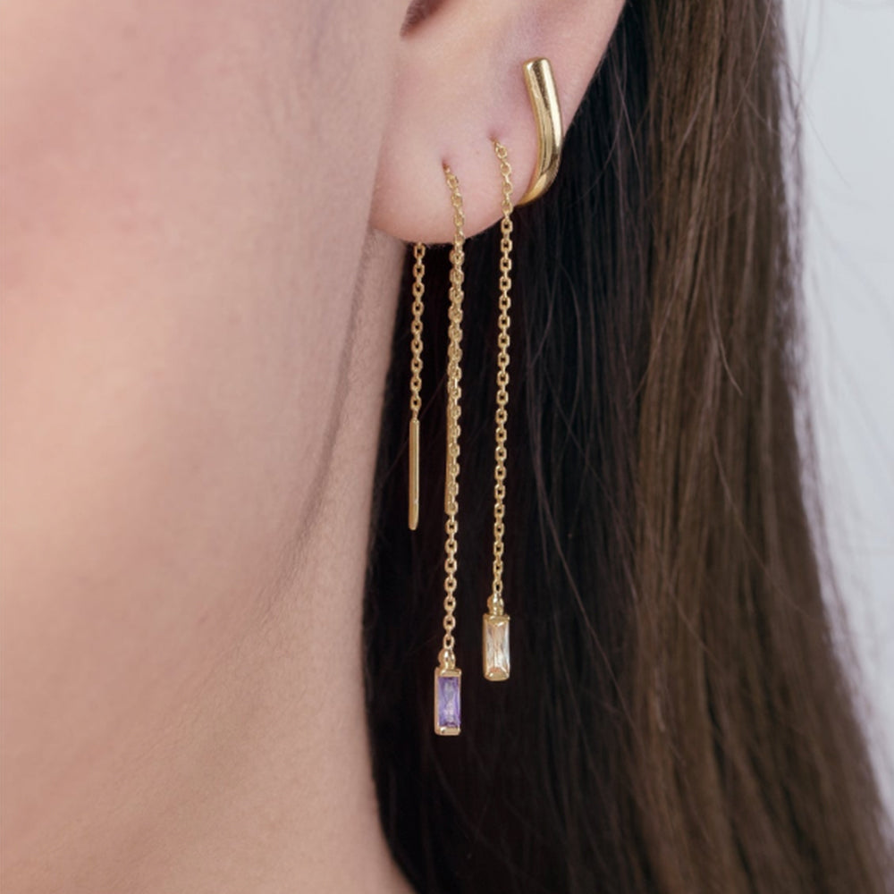 Earrings | Threader with  Amethyst