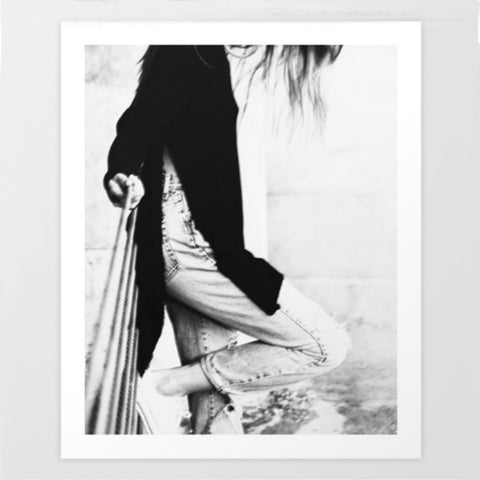 Girl Black & White Art Print | X Large