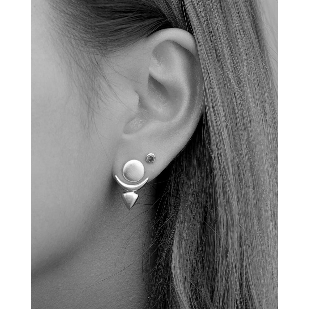 Moon Phase Ear Jacket Earrings
