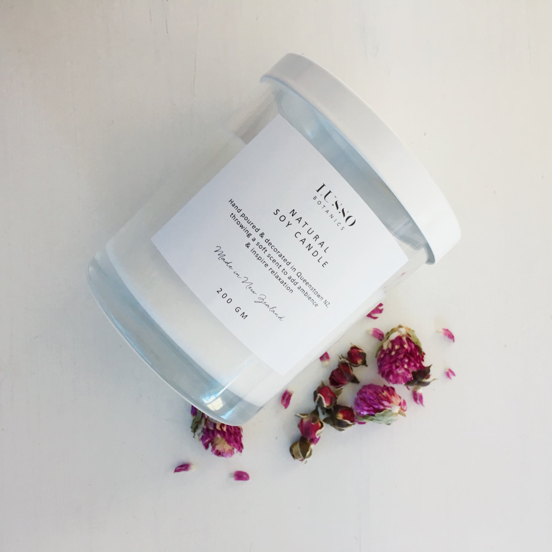 dried flower soy candle nz made