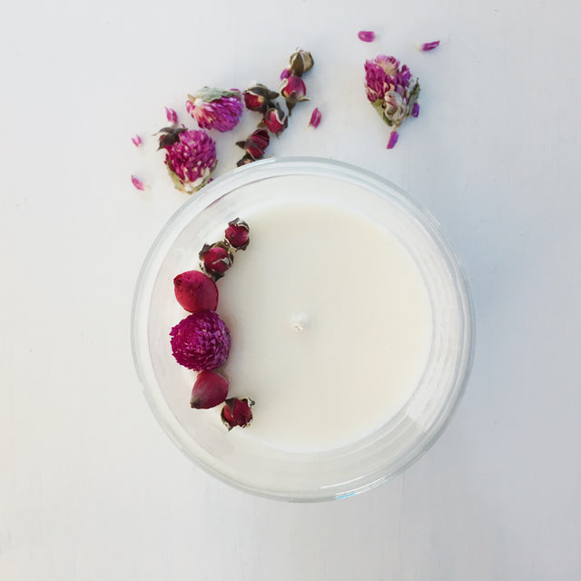 soy candle with dried flowers queenstown nz