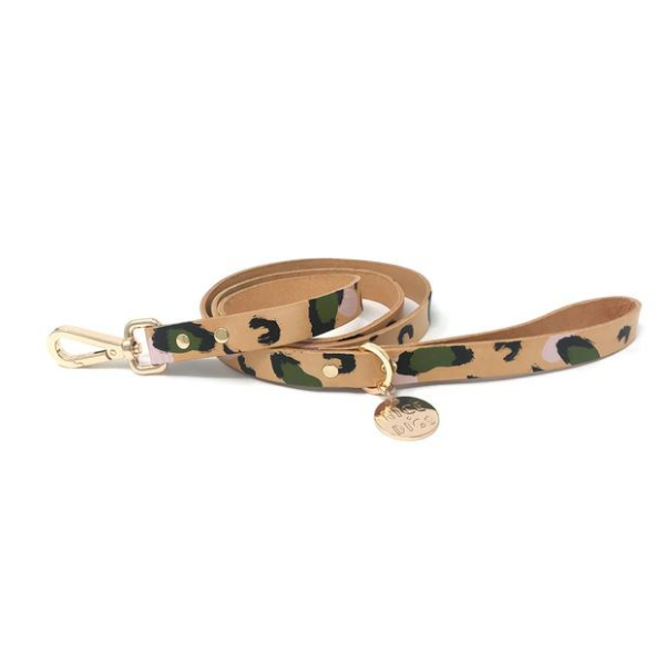Evergreen Modern Leather Leopard Print Dog Lead