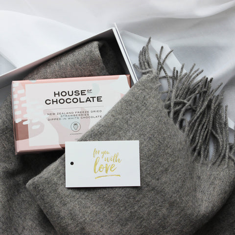 Luxury Gift | Wool Blend Scarf + Chocolates