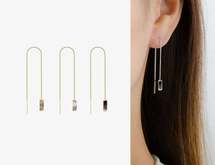 Earrings | Gold Threader with stone