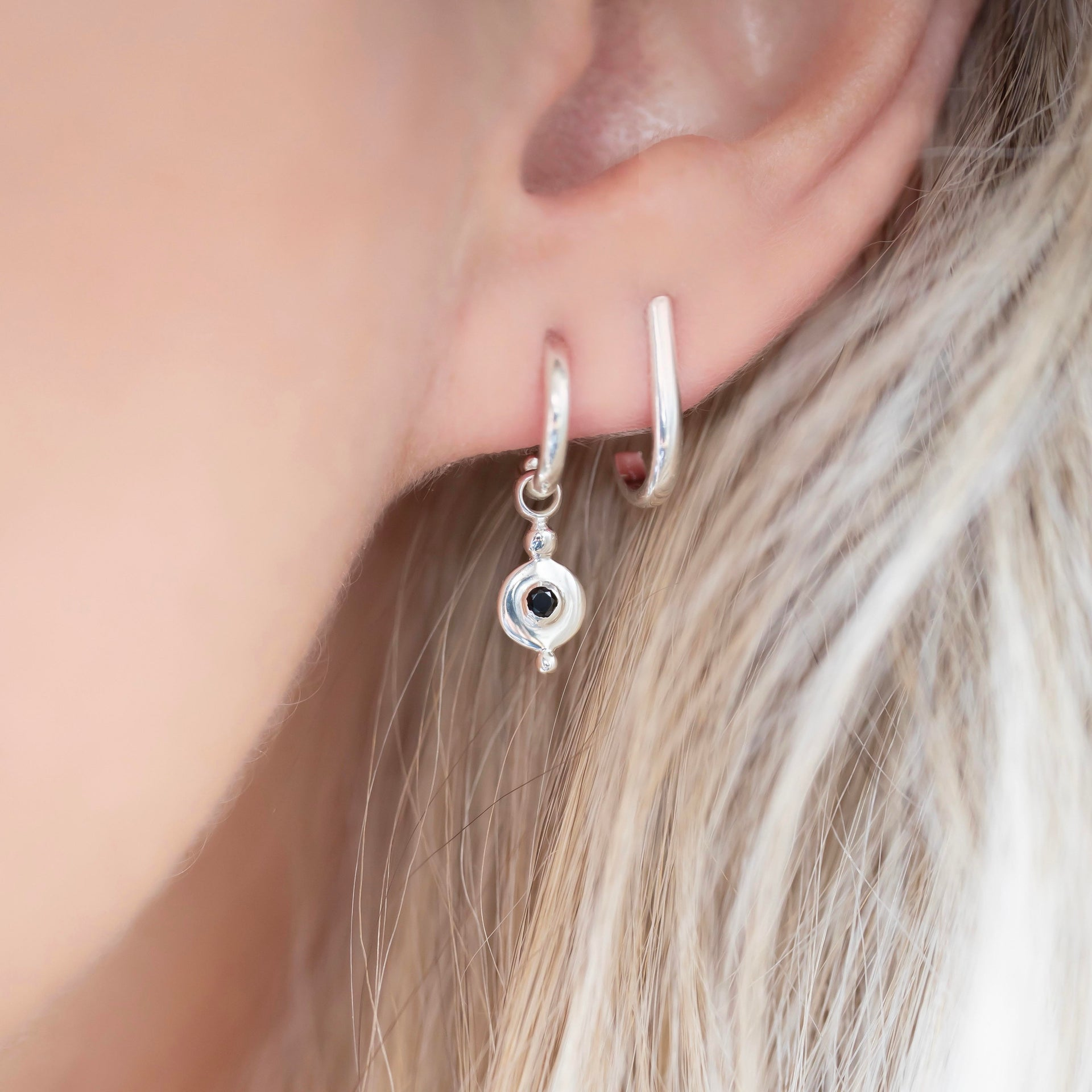 Earrings | Disc Droplet + Onyx