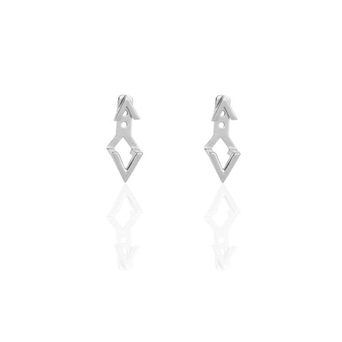 Ear Jackets | Chevron Silver