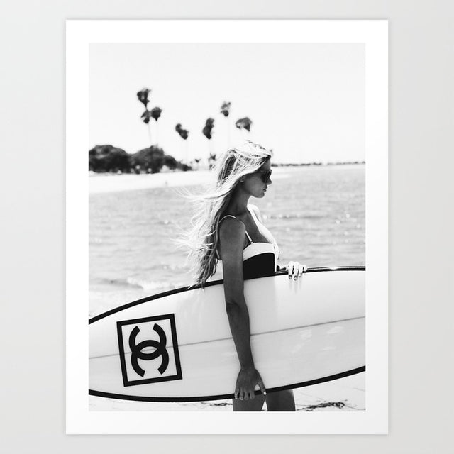 chanel surfer chick black and white poster print