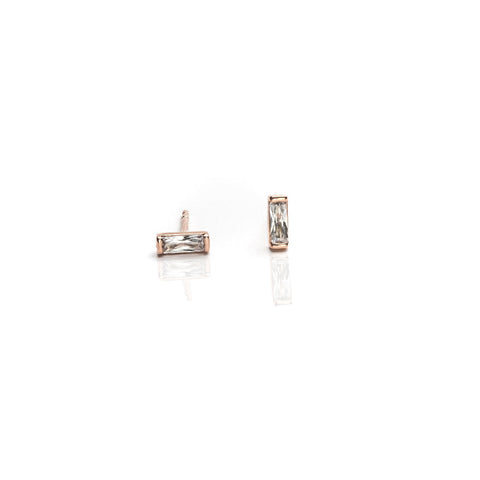 Earrings | Rose Gold Bar + White Zirconia