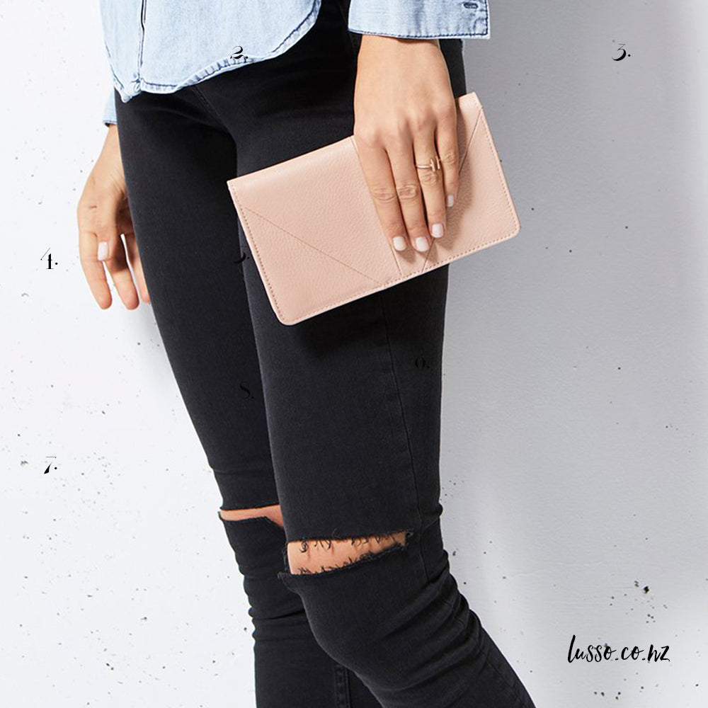 Status Anxiety Blush Pink Leather Wallet