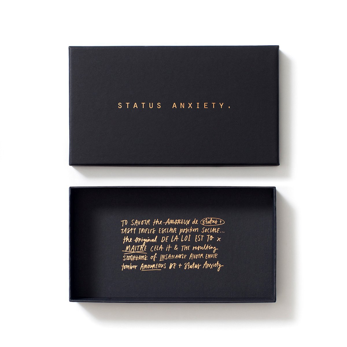 status Anxiety In the beginning wallet khaki packaging