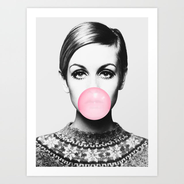black and white Twiggy art print