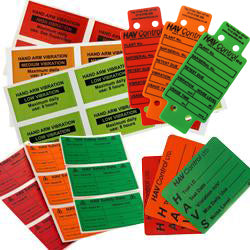 Hand arm vibration tags and labels