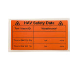 HAV safety data labels in packs of 10