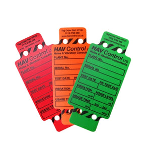 Hand-arm vibration tags - supplied in packs of 10