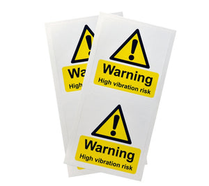 Warning High Vibration Risk - Supplied in packs of 10