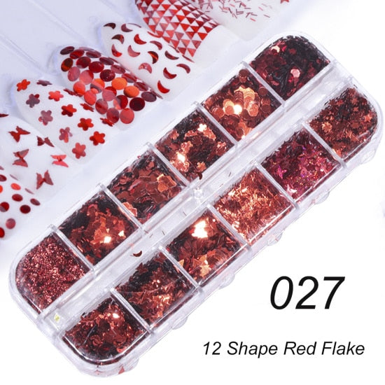 Nail Art - Glitter, Powder, Sequin - 12-Unit Grid