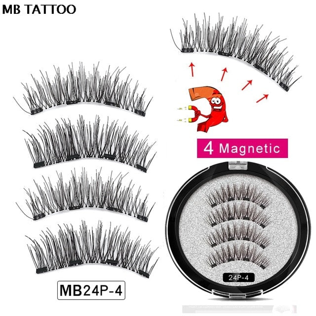 Magnetic False Eyelashes - 2 pairs (4 items)