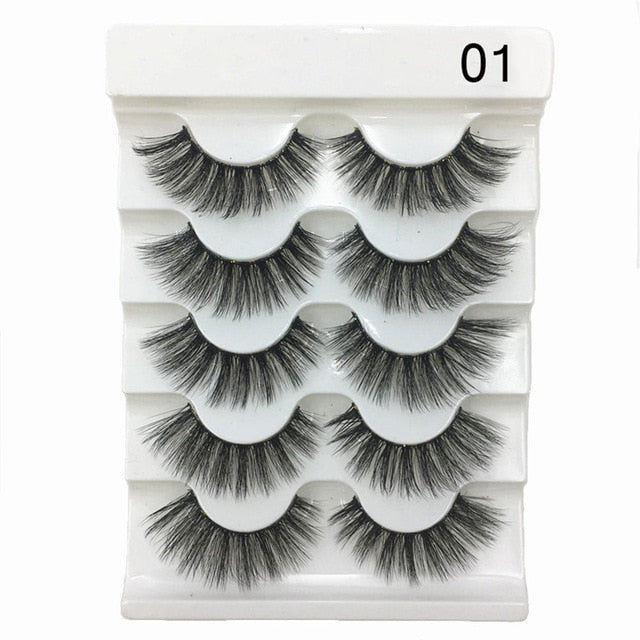 3D Faux Mink Hair Soft False Eyelashes - 5 Pairs, Multiple Styles