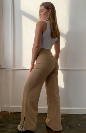 Retro Future Suit Pant in Tan