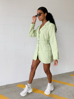 Full Control Lime Blazer Dress