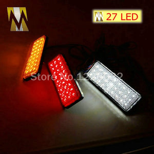 RED Lens Rectangle Red LED Reflectors Brake Light for Universal Motorcycle car truck high performance rear lights tail light