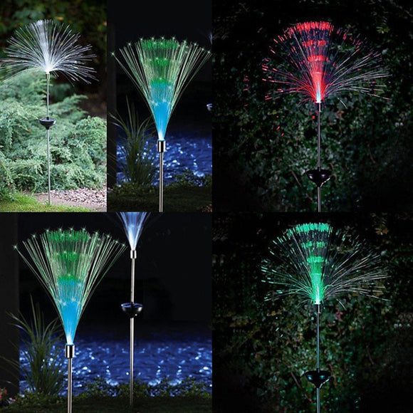 2pcs Outdoor Optical Fiber Lawn Light Novelty Solar Powered Color Changing LED Night light Garden path party Decoration