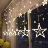12pcs Five-pointed Star LED Strip Light Starry Sky Lamp Curtain Waterfall Lights Christmas Tree New Year Home Indoor Decoration