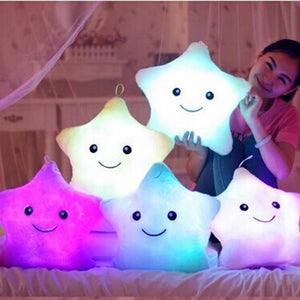 Unique 40*35cm Luminous Pillow Vivid Star Design LED Light Cushion Plush Pillow for Bedroom Birthday Gift Toy for Kids