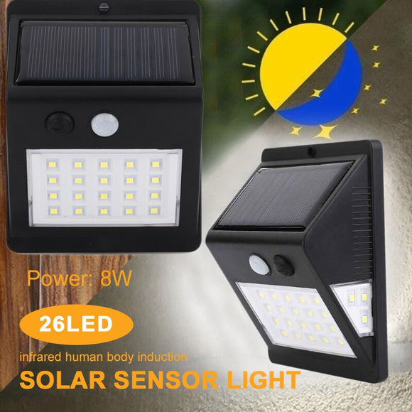 Solar Walkway Lights Home Security Lamp Light Controlled Outdoor 26LED Motion Sensor Eco-Friendly 3.0Modes Waterproof Flashlight