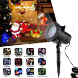 Adeeing Christmas Lights Waterproof LED Laser Snowflake Projector 12 Film Cards DJ Disco Light New Year's Decor For Home Garden