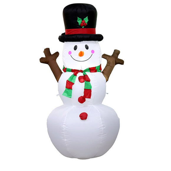 160cm Giant Snowman Mascot Inflatable Toys LED Lighted Christmas Oktoberfest Props Winter New Year Party Props Yard Decoration