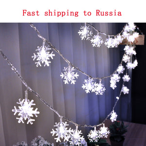10M 100LED 220V EU Christmas Garland Snow Flakes LED String Fairy Lights For Party Home Xmas Tree Wedding Garden Decorations