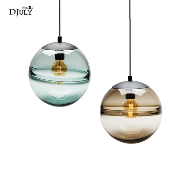 postmodern Italian design blue glass globe pendant lights for villa bedroom coffee store lamp fashion suspended led luminaire