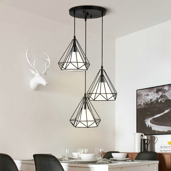 New Nordic Design Multilateral Diamond Cutout Postmodern light Restaurant E27 Personality Plated Three Head Pendant lamp