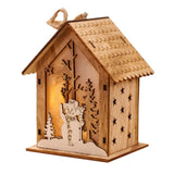 Christmas Small Wooden House Ornament Led Light Up Xmas Tree Hanging Decoration Glowing Elk Santa Bell Design Mini Wood House