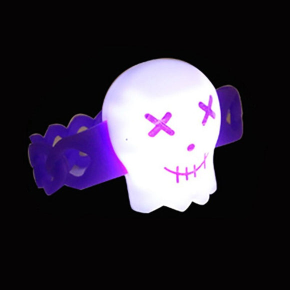 1PC Halloween Skull Design Luminous Glow Wristband Halloween Party Glow Bangle LED Light Up Bracelet Party Favors Supplies