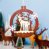 4pcs Christmas Wooden Hollow Pendant LED Light Witches Make Poison Design Small Ornaments Christmas  for Party Home Decoration
