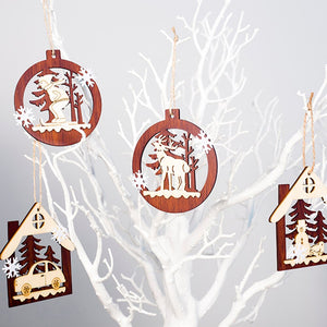4pcs Christmas Wooden Hollow Pendant LED Light Witches Make Poison Design Small Ornaments Christmas Party Home Decoration Supply