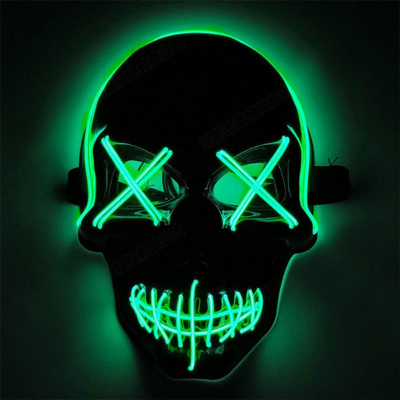 Skull Design Halloween LED Light Up Mask Full Face Covered Luminous Glow Party Favors Supplies Mask Mascarillas Glow In The Dark