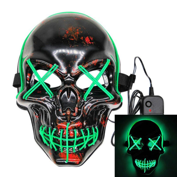 Skull Design Halloween LED Light Up Masks Full Face Covered Luminous Glow Party Favors Supplies
