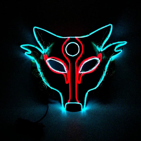 Wolf Design EL Wire Light Up Mask Upper Half Face Covered For Halloween Masquerade Party Cosplay Costume Accessories Led Mask