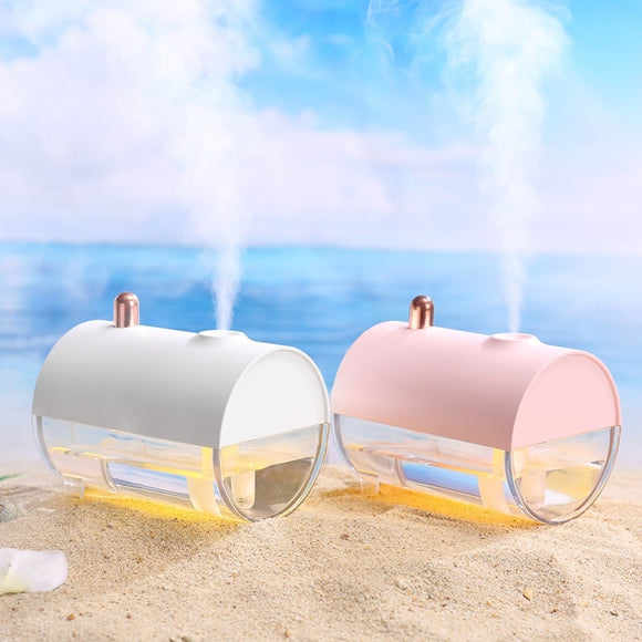 Portable USB Charging Submarine Boat Shape Design Humidifier With Warm White LED Night Light Personal Air Diffuser