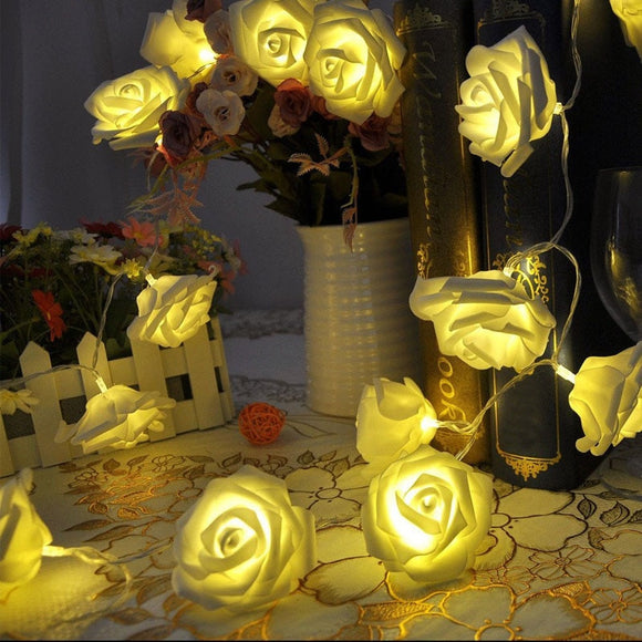 1pc New Design 20 LED Christmas Wedding Flower Rose Fairy String Lights Lamp Indoor/Outdoor Decoration Gift