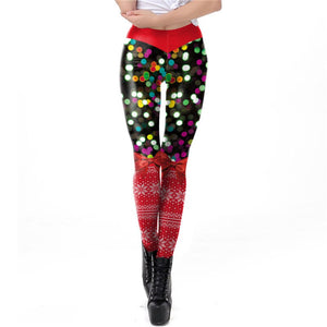 Women Sexy Christmas 3D Print red  Garters Legging Pants Costume Printed sparkling Lights  cosplay party pant