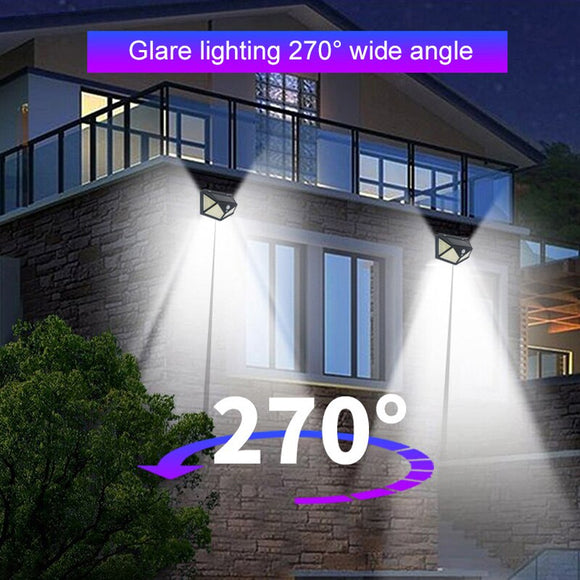 Eco-Friendly Walkway Lights Solar Home Security Lamp Fence Light Flashlight Wall Light Durable 100LED Outdoor Motion Sensor